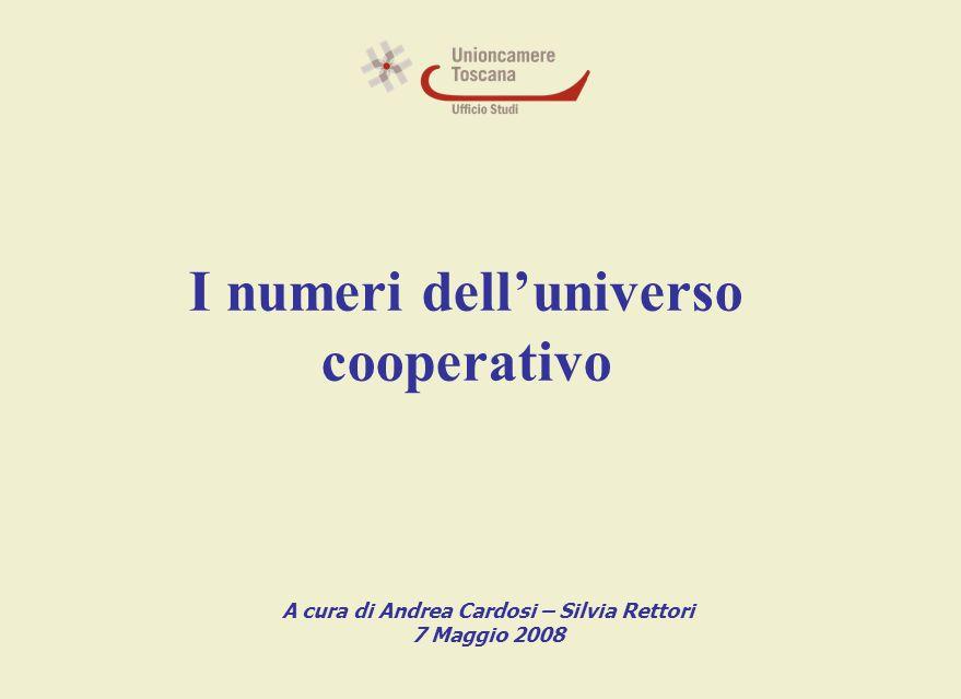 I numeri dell'universo cooperativo A cura di Andrea Cardosi – Silvia Rettori 7 Maggio 2008