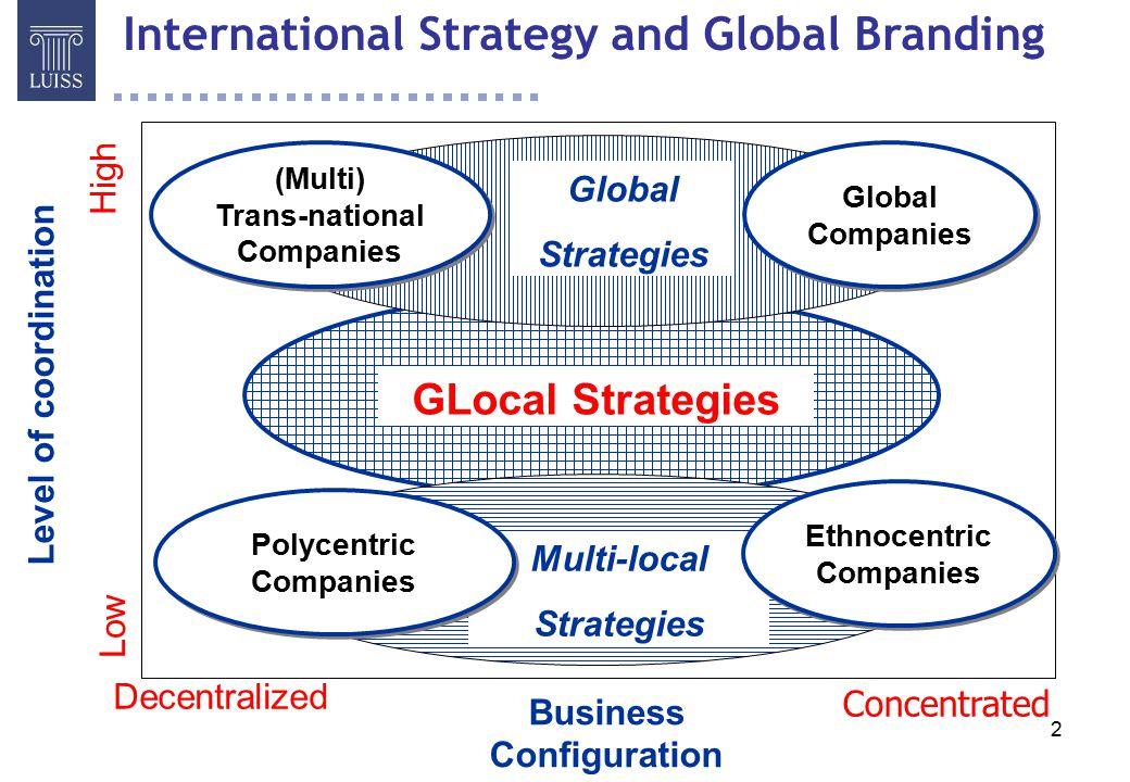 33 Il processo di Global Branding è funzione di a) Background (punto di partenza) b) Strategia (punto di arrivo) c) Dinamica Organizzativa (condizioni della strada) a)Notorietà (awareness, profondità e ampiezza) e profilo di immagine (associazioni) dei brand locali, equivalenze linguistiche e semantiche, quota di mercato e redditività dei brand locali, posizionamento sui segmenti e rispetto ai concorrenti, ecc.