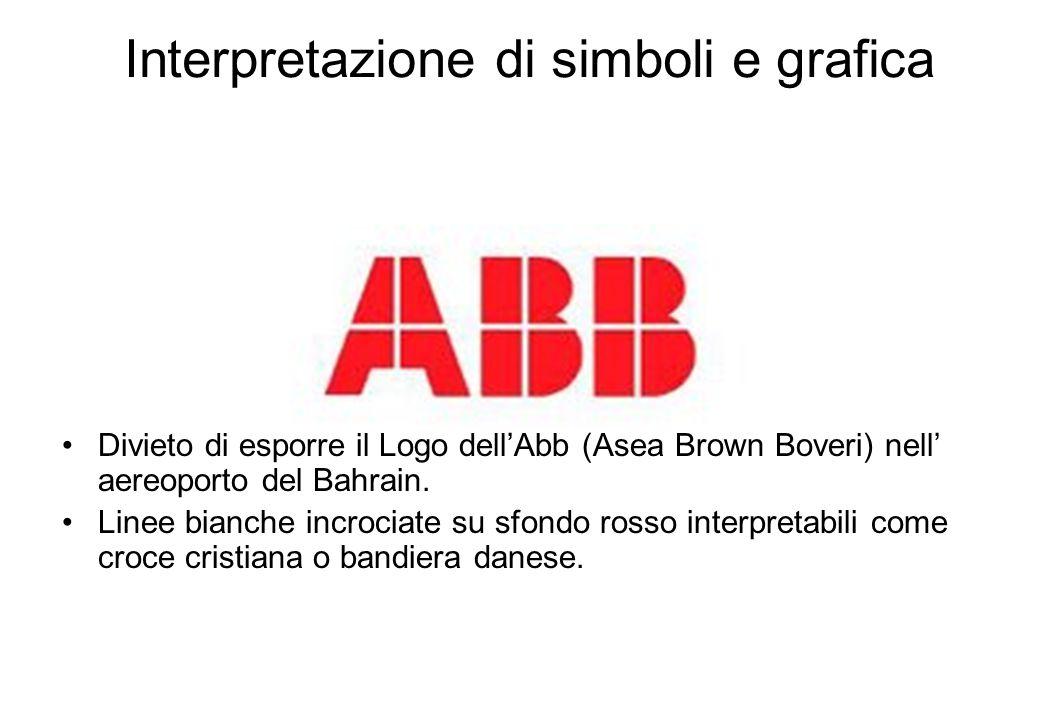Interpretazione di simboli e grafica Divieto di esporre il Logo dell'Abb (Asea Brown Boveri) nell' aereoporto del Bahrain.