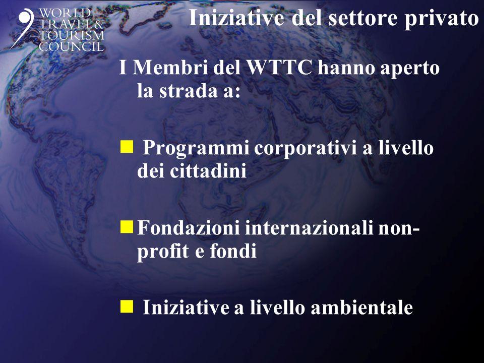 Iniziative del settore privato I Membri del WTTC hanno aperto la strada a: n Programmi corporativi a livello dei cittadini nFondazioni internazionali non- profit e fondi n Iniziative a livello ambientale