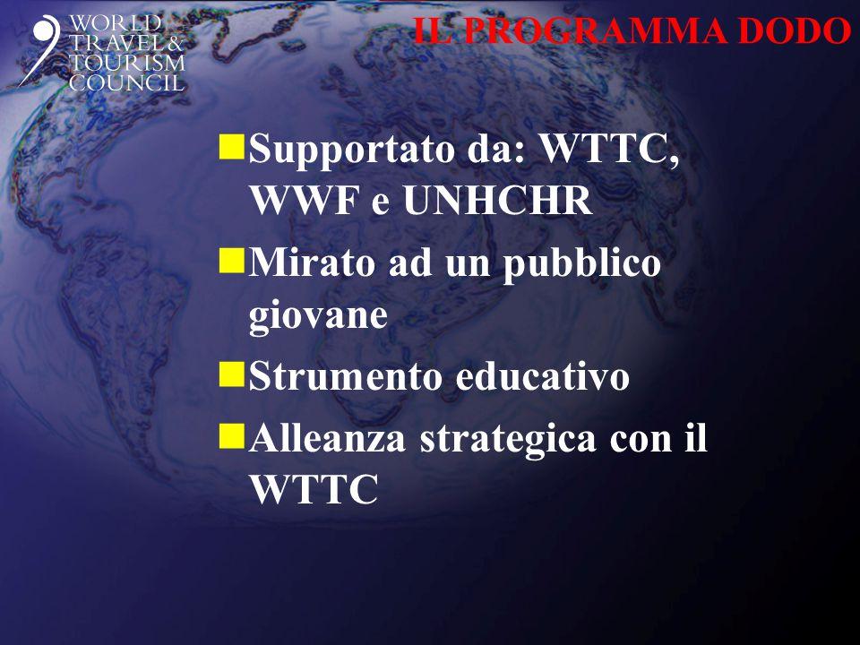 IL PROGRAMMA DODO nSupportato da: WTTC, WWF e UNHCHR nMirato ad un pubblico giovane nStrumento educativo nAlleanza strategica con il WTTC