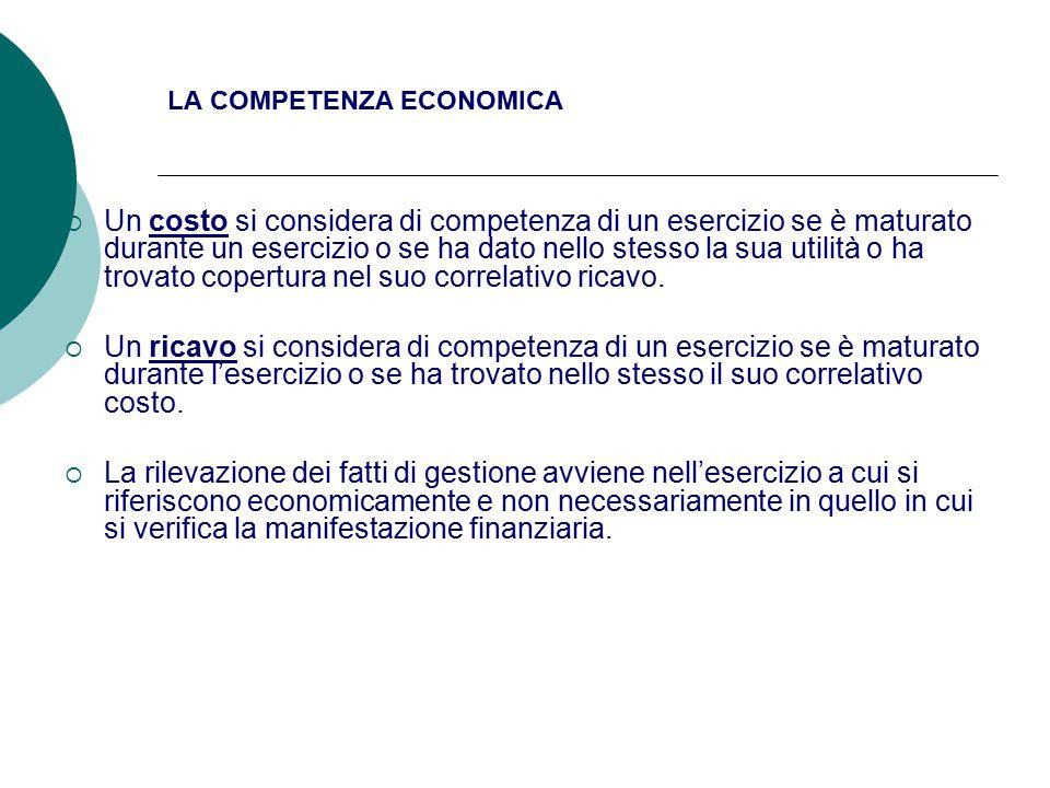 LA COMPETENZA ECONOMICA  Un costo si considera di competenza di un esercizio se è maturato durante un esercizio o se ha dato nello stesso la sua utilità o ha trovato copertura nel suo correlativo ricavo.