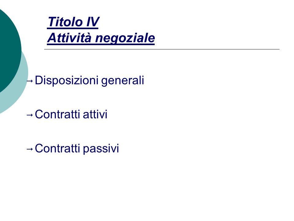 Titolo IV Attività negoziale  Disposizioni generali  Contratti attivi  Contratti passivi