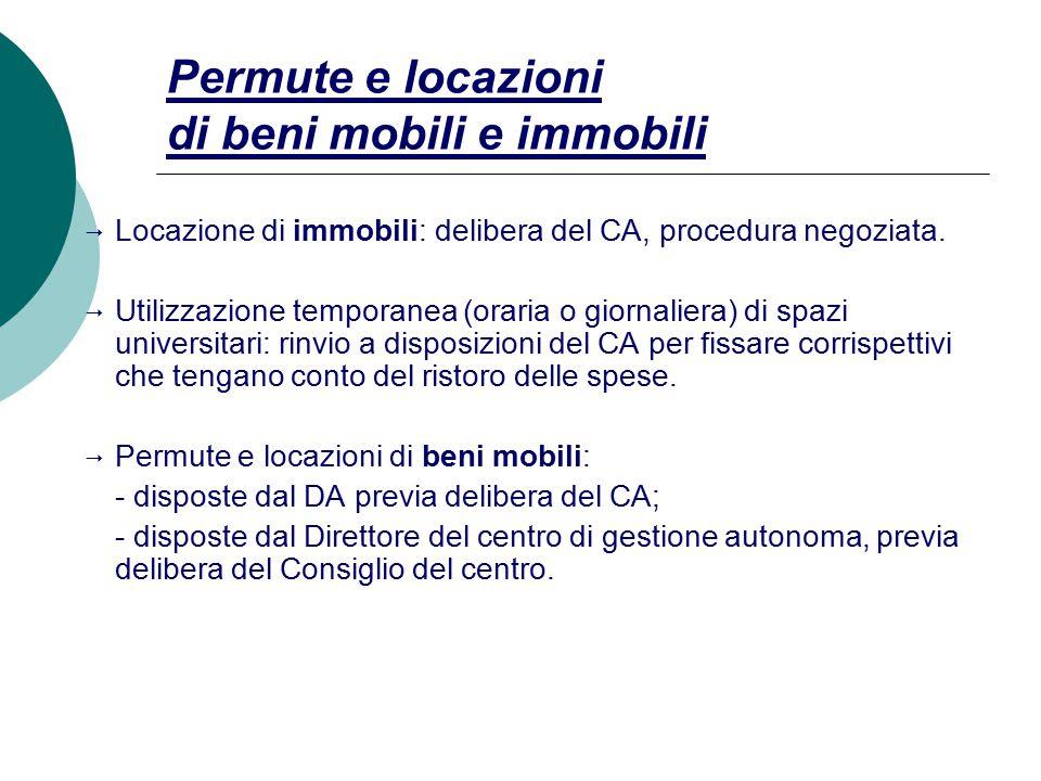 Permute e locazioni di beni mobili e immobili  Locazione di immobili: delibera del CA, procedura negoziata.