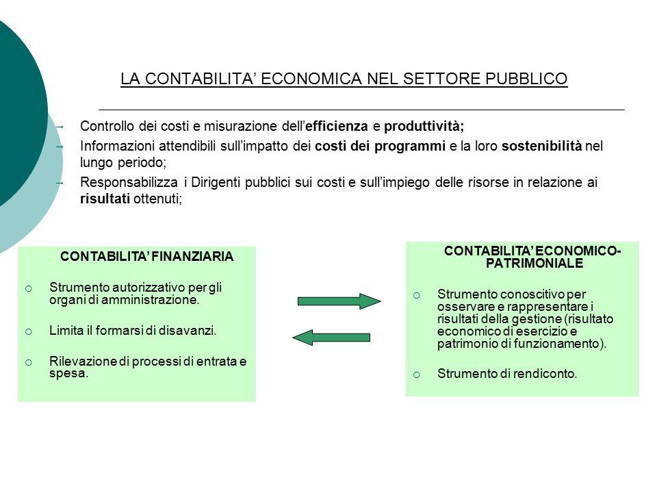 LA CONTABILITA' ECONOMICA NEL SETTORE PUBBLICO  Controllo dei costi e misurazione dell'efficienza e produttività;  Informazioni attendibili sull'impatto dei costi dei programmi e la loro sostenibilità nel lungo periodo;  Responsabilizza i Dirigenti pubblici sui costi e sull'impiego delle risorse in relazione ai risultati ottenuti; CONTABILITA' FINANZIARIA  Strumento autorizzativo per gli organi di amministrazione.