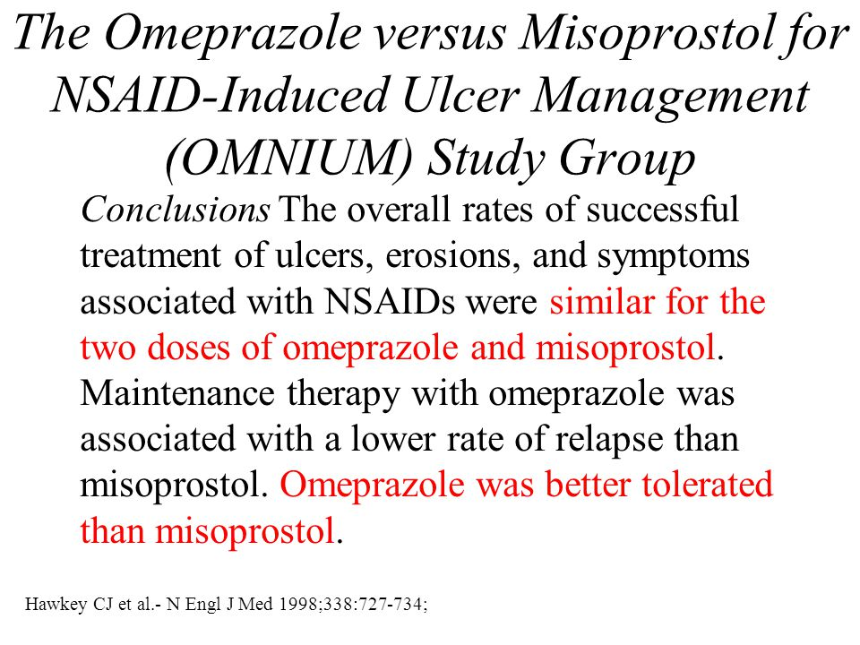 Hawkey CJ et al.- N Engl J Med 1998;338:727-734; The Omeprazole versus Misoprostol for NSAID-Induced Ulcer Management (OMNIUM) Study Group Conclusions