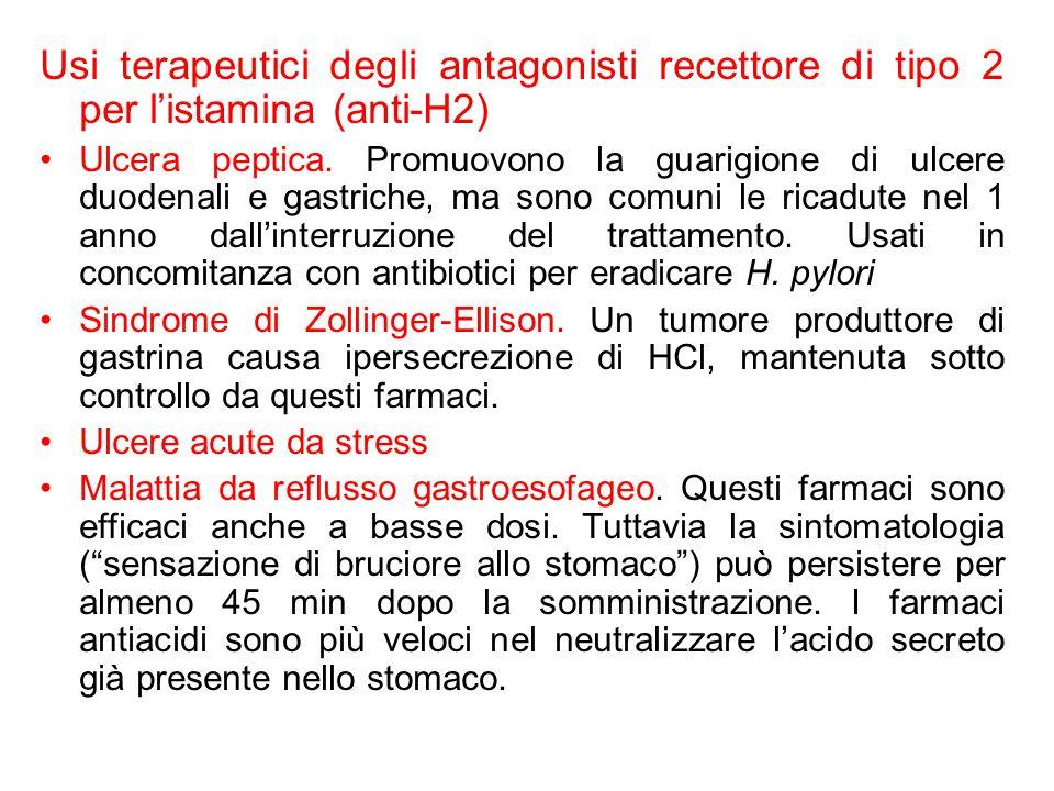 Usi terapeutici degli antagonisti recettore di tipo 2 per l'istamina (anti-H2) Ulcera peptica. Promuovono la guarigione di ulcere duodenali e gastrich