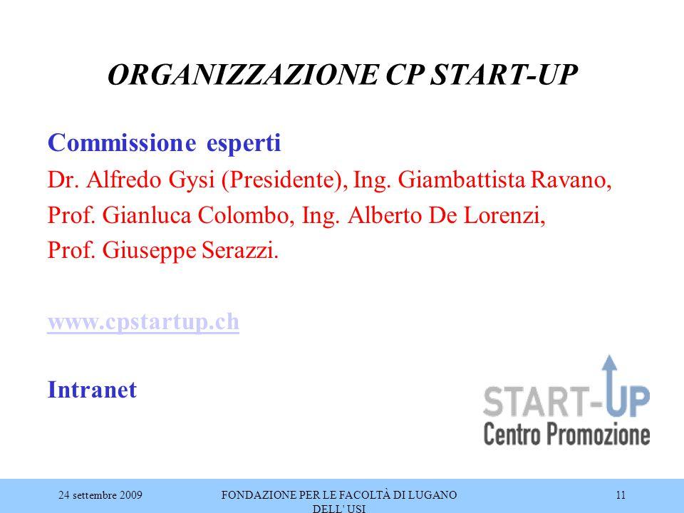 24 settembre 2009FONDAZIONE PER LE FACOLTÀ DI LUGANO DELL' USI 11 ORGANIZZAZIONE CP START-UP Commissione esperti Dr. Alfredo Gysi (Presidente), Ing. G