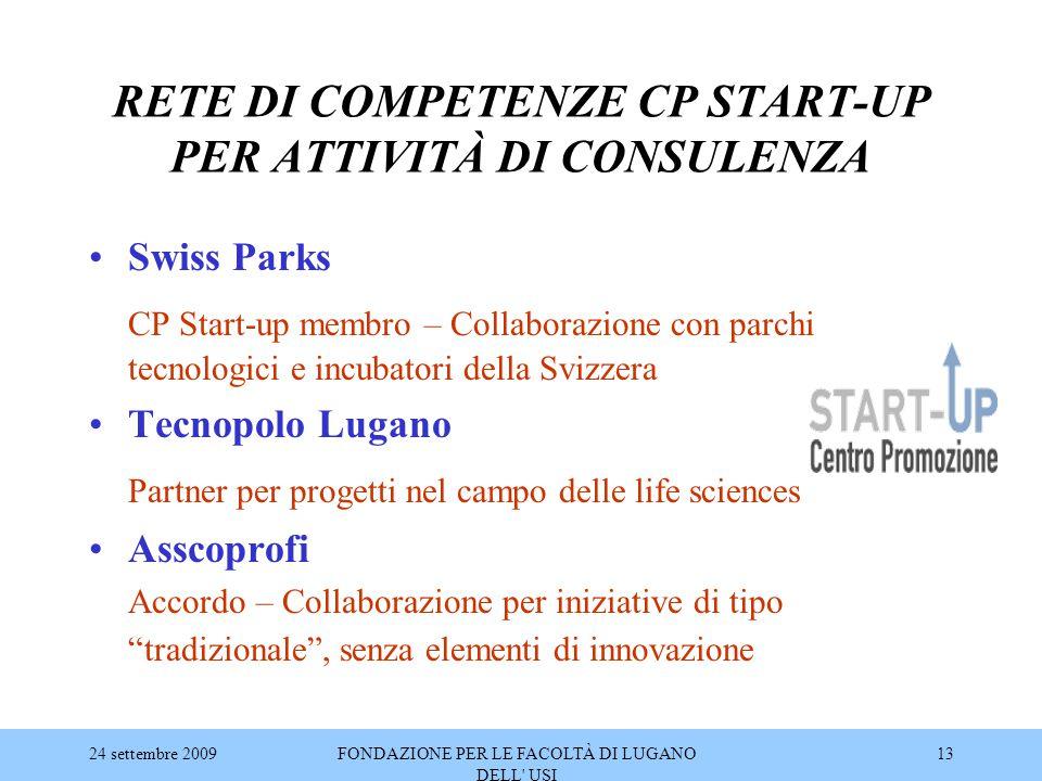 24 settembre 2009FONDAZIONE PER LE FACOLTÀ DI LUGANO DELL' USI 13 RETE DI COMPETENZE CP START-UP PER ATTIVITÀ DI CONSULENZA Swiss Parks CP Start-up me