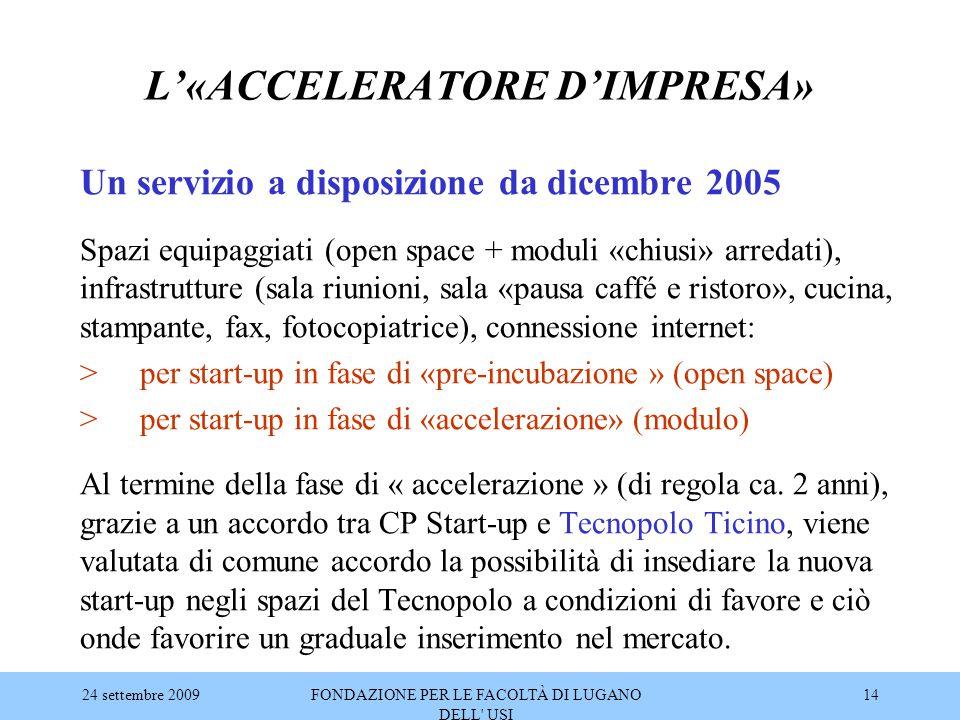 24 settembre 2009FONDAZIONE PER LE FACOLTÀ DI LUGANO DELL' USI 14 L'«ACCELERATORE D'IMPRESA» Un servizio a disposizione da dicembre 2005 Spazi equipag