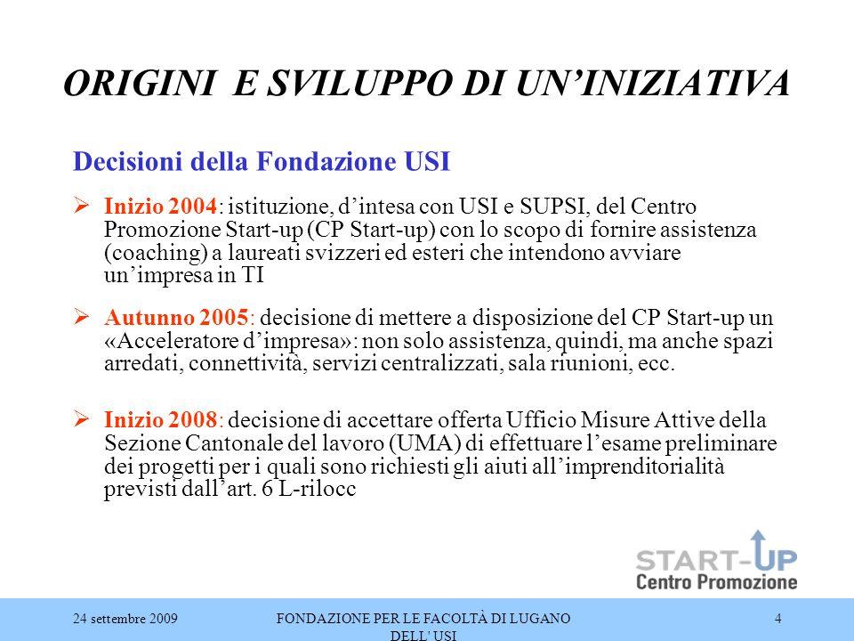 24 settembre 2009FONDAZIONE PER LE FACOLTÀ DI LUGANO DELL' USI 4 ORIGINI E SVILUPPO DI UN'INIZIATIVA Decisioni della Fondazione USI  Inizio 2004: ist