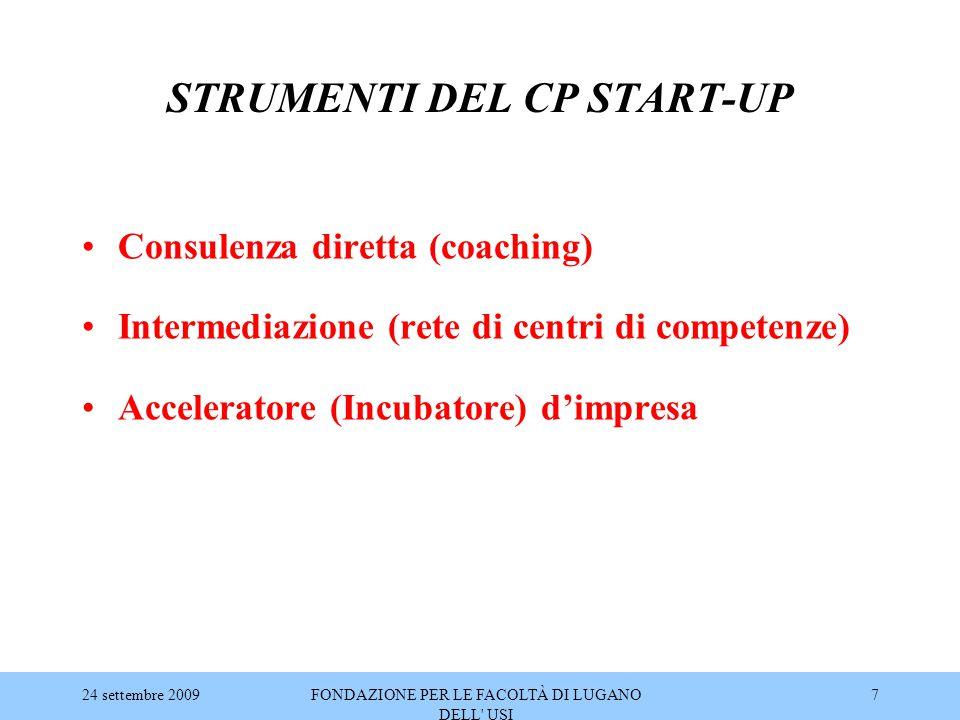 24 settembre 2009FONDAZIONE PER LE FACOLTÀ DI LUGANO DELL' USI 7 STRUMENTI DEL CP START-UP Consulenza diretta (coaching) Intermediazione (rete di cent