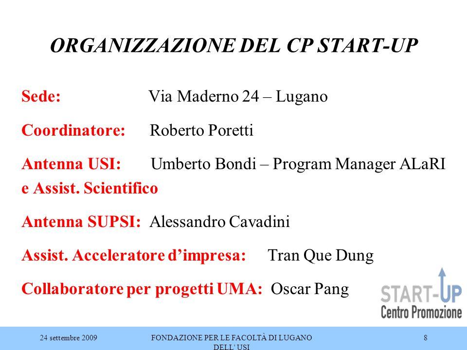 24 settembre 2009FONDAZIONE PER LE FACOLTÀ DI LUGANO DELL' USI 8 ORGANIZZAZIONE DEL CP START-UP Sede: Via Maderno 24 – Lugano Coordinatore: Roberto Po
