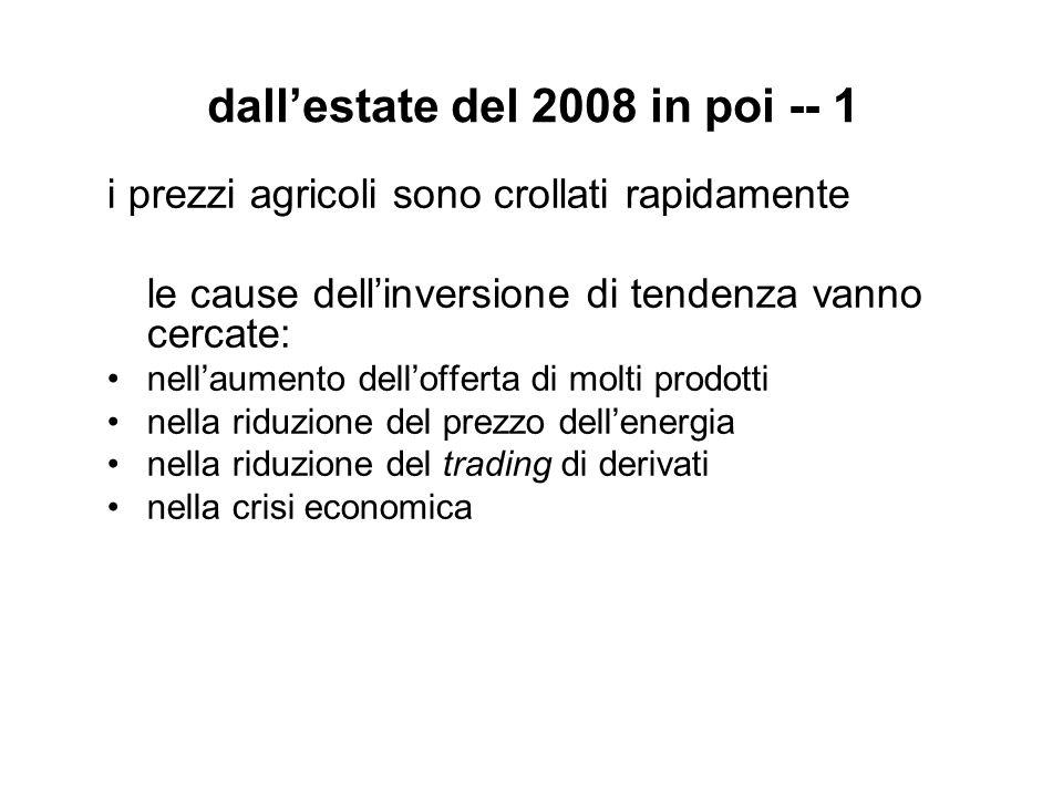 dall'estate del 2008 in poi -- 1 i prezzi agricoli sono crollati rapidamente le cause dell'inversione di tendenza vanno cercate: nell'aumento dell'offerta di molti prodotti nella riduzione del prezzo dell'energia nella riduzione del trading di derivati nella crisi economica