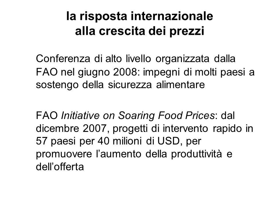 la risposta internazionale alla crescita dei prezzi Conferenza di alto livello organizzata dalla FAO nel giugno 2008: impegni di molti paesi a sostengo della sicurezza alimentare FAO Initiative on Soaring Food Prices: dal dicembre 2007, progetti di intervento rapido in 57 paesi per 40 milioni di USD, per promuovere l'aumento della produttività e dell'offerta
