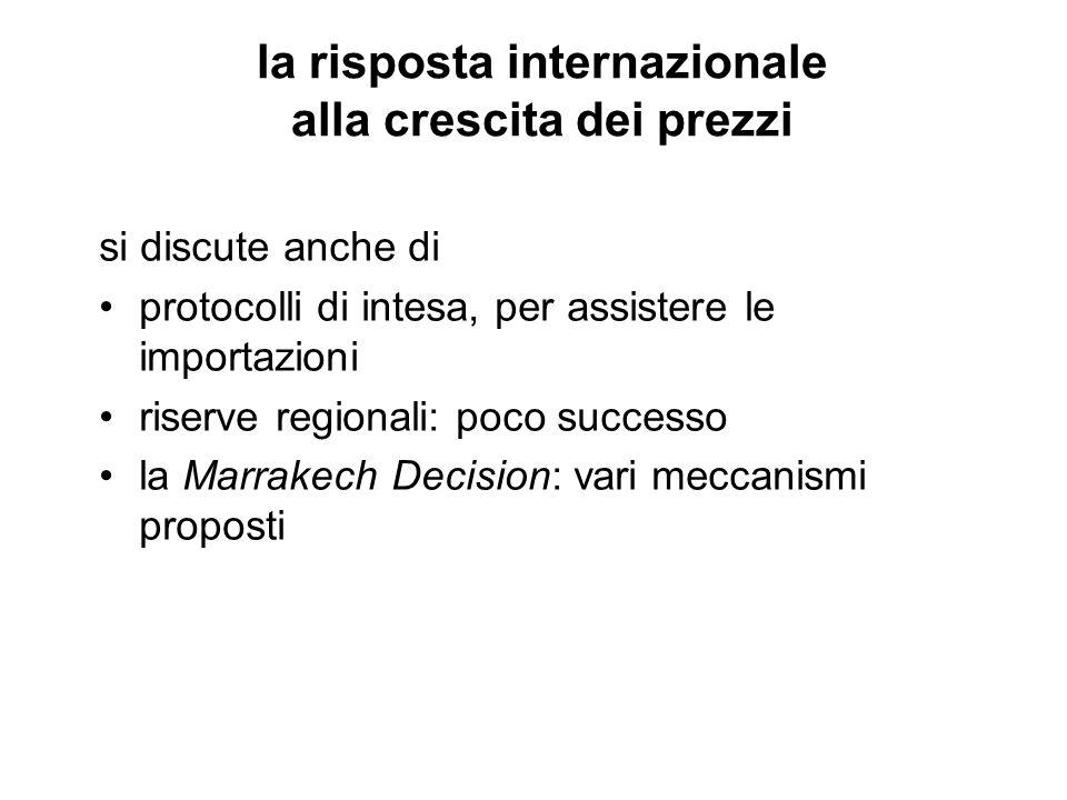 la risposta internazionale alla crescita dei prezzi si discute anche di protocolli di intesa, per assistere le importazioni riserve regionali: poco successo la Marrakech Decision: vari meccanismi proposti