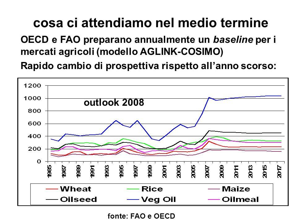 cosa ci attendiamo nel medio termine fonte: FAO e OECD OECD e FAO preparano annualmente un baseline per i mercati agricoli (modello AGLINK-COSIMO) Rapido cambio di prospettiva rispetto all'anno scorso: outlook 2008