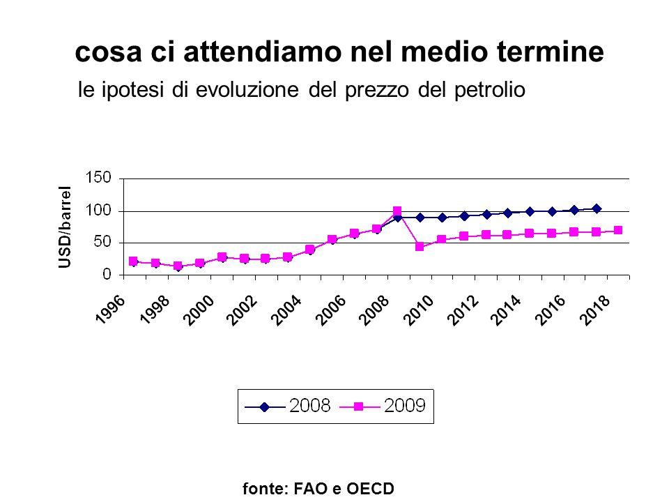 cosa ci attendiamo nel medio termine fonte: FAO e OECD le ipotesi di evoluzione del prezzo del petrolio