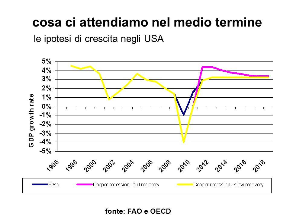 cosa ci attendiamo nel medio termine fonte: FAO e OECD le ipotesi di crescita negli USA