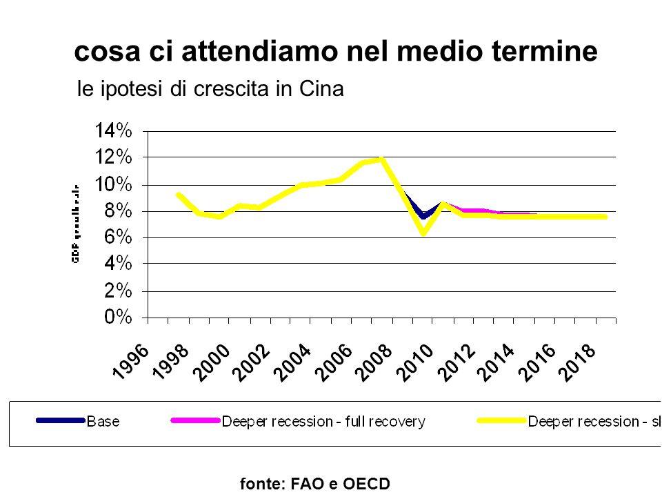 cosa ci attendiamo nel medio termine fonte: FAO e OECD le ipotesi di crescita in Cina