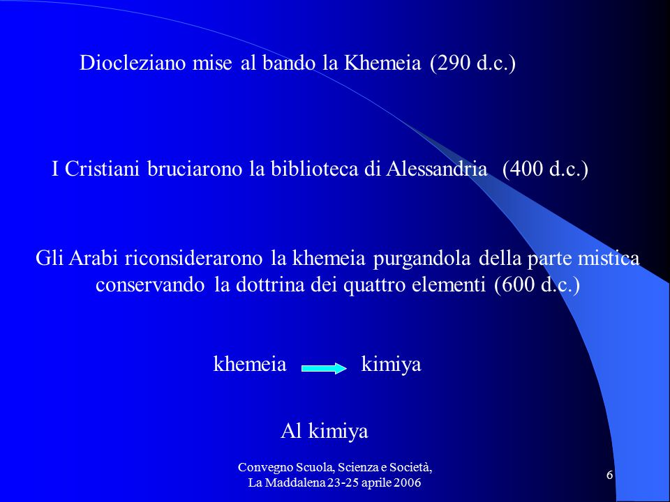 Convegno Scuola, Scienza e Società, La Maddalena 23-25 aprile 2006 7 Pietra filosofaleElisir di lunga vita Obiettivi principali dell'alchimia Trasformazione dei metalli in oro