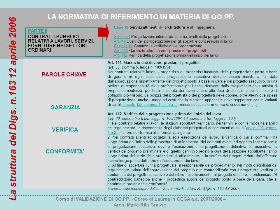 PARTE II CONTRATTI PUBBLICI RELATIVI A LAVORI, SERVIZI, FORNITURE NEI SETTORI ORDINARI LA NORMATIVA DI RIFERIMENTO IN MATERIA DI OO.PP. Corso di VALID
