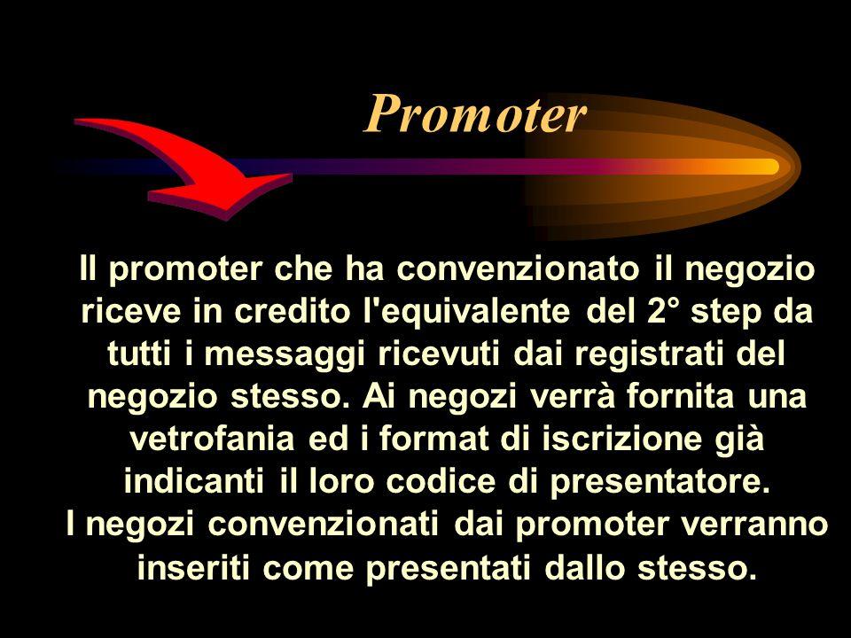 Promoter Il promoter che ha convenzionato il negozio riceve in credito l equivalente del 2° step da tutti i messaggi ricevuti dai registrati del negozio stesso.