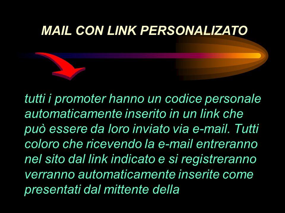tutti i promoter hanno un codice personale automaticamente inserito in un link che può essere da loro inviato via e-mail.