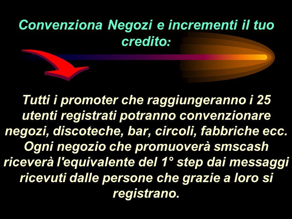 Tutti i promoter che raggiungeranno i 25 utenti registrati potranno convenzionare negozi, discoteche, bar, circoli, fabbriche ecc.