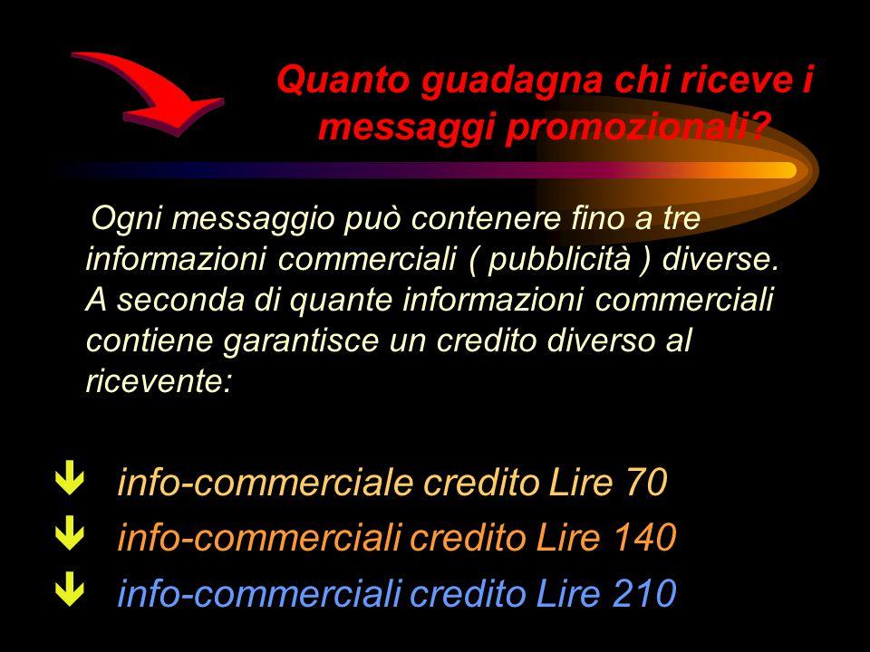 Ogni messaggio può contenere fino a tre informazioni commerciali ( pubblicità ) diverse.