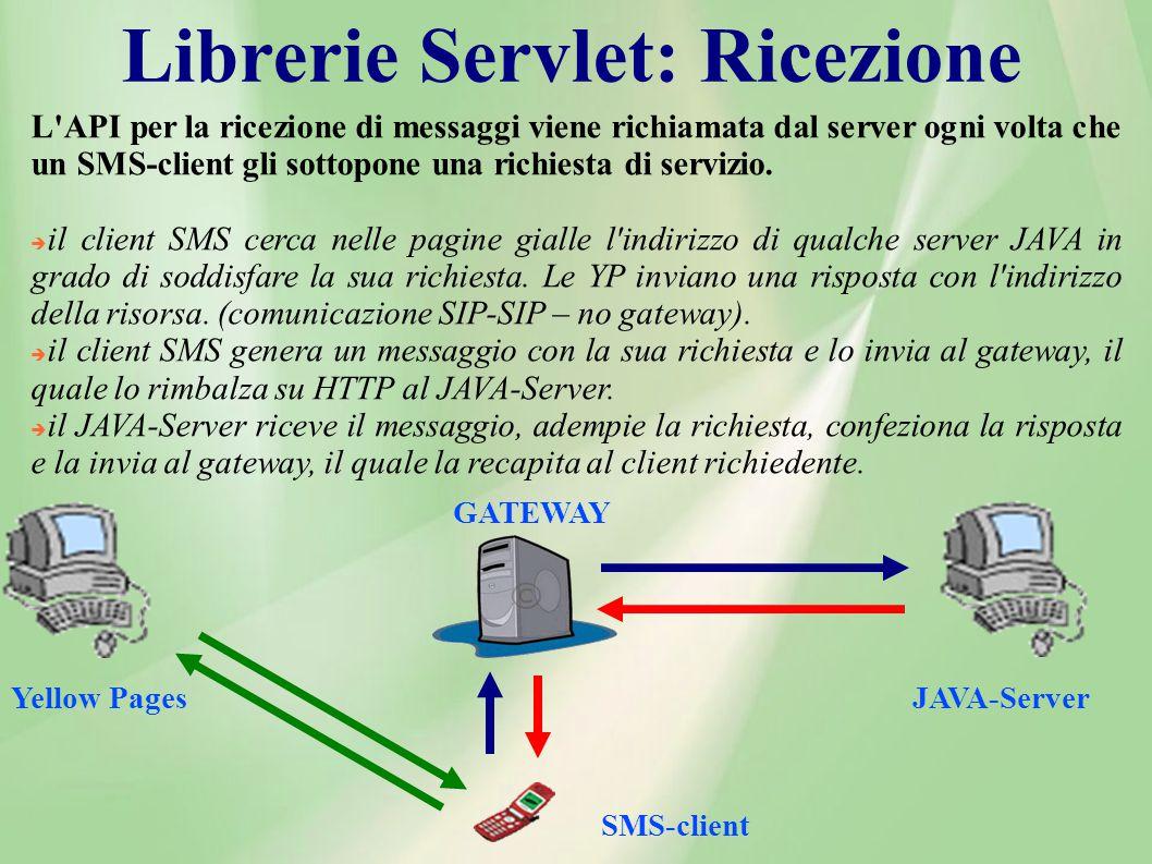 Librerie Servlet: Ricezione L API per la ricezione di messaggi viene richiamata dal server ogni volta che un SMS-client gli sottopone una richiesta di servizio.