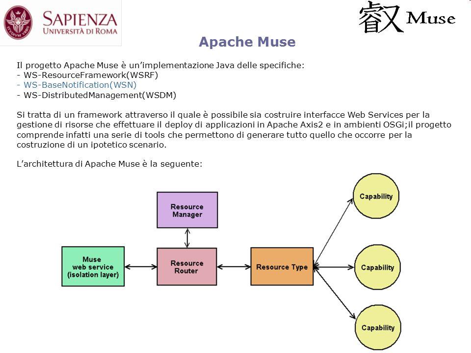 Apache Muse Il progetto Apache Muse è un'implementazione Java delle specifiche: - WS-ResourceFramework(WSRF) - WS-BaseNotification(WSN) - WS-DistributedManagement(WSDM) Si tratta di un framework attraverso il quale è possibile sia costruire interfacce Web Services per la gestione di risorse che effettuare il deploy di applicazioni in Apache Axis2 e in ambienti OSGi;il progetto comprende infatti una serie di tools che permettono di generare tutto quello che occorre per la costruzione di un ipotetico scenario.