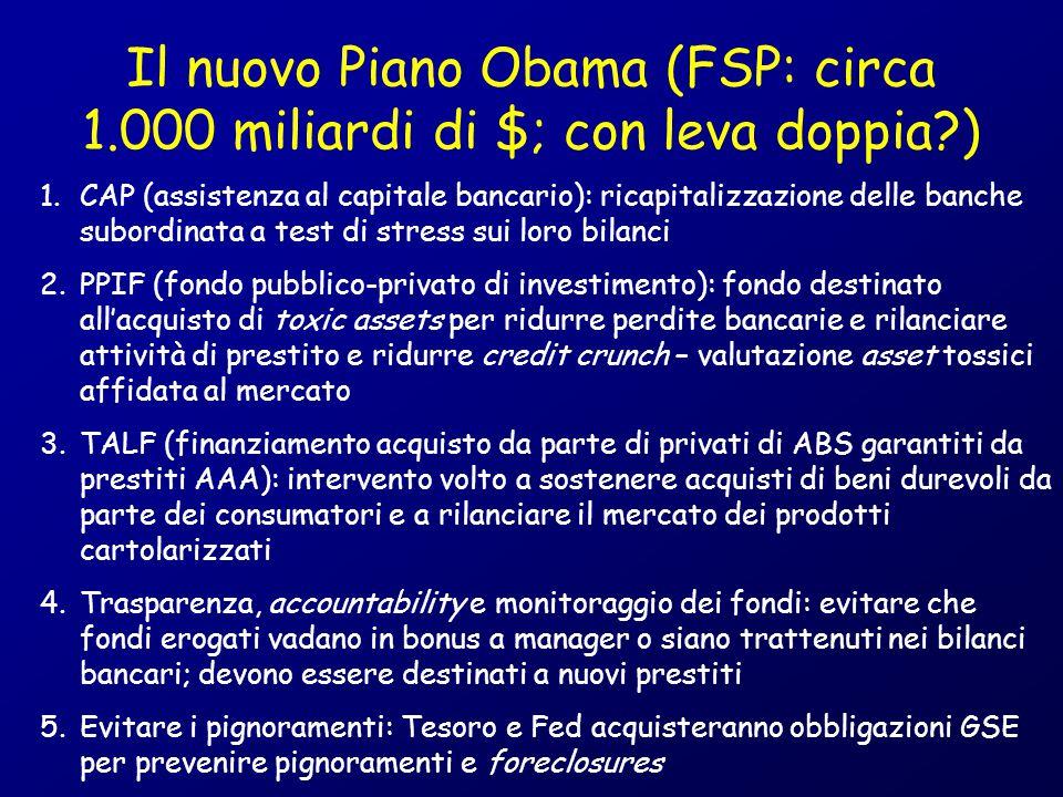 Il nuovo Piano Obama (FSP: circa 1.000 miliardi di $; con leva doppia?) 1.CAP (assistenza al capitale bancario): ricapitalizzazione delle banche subor