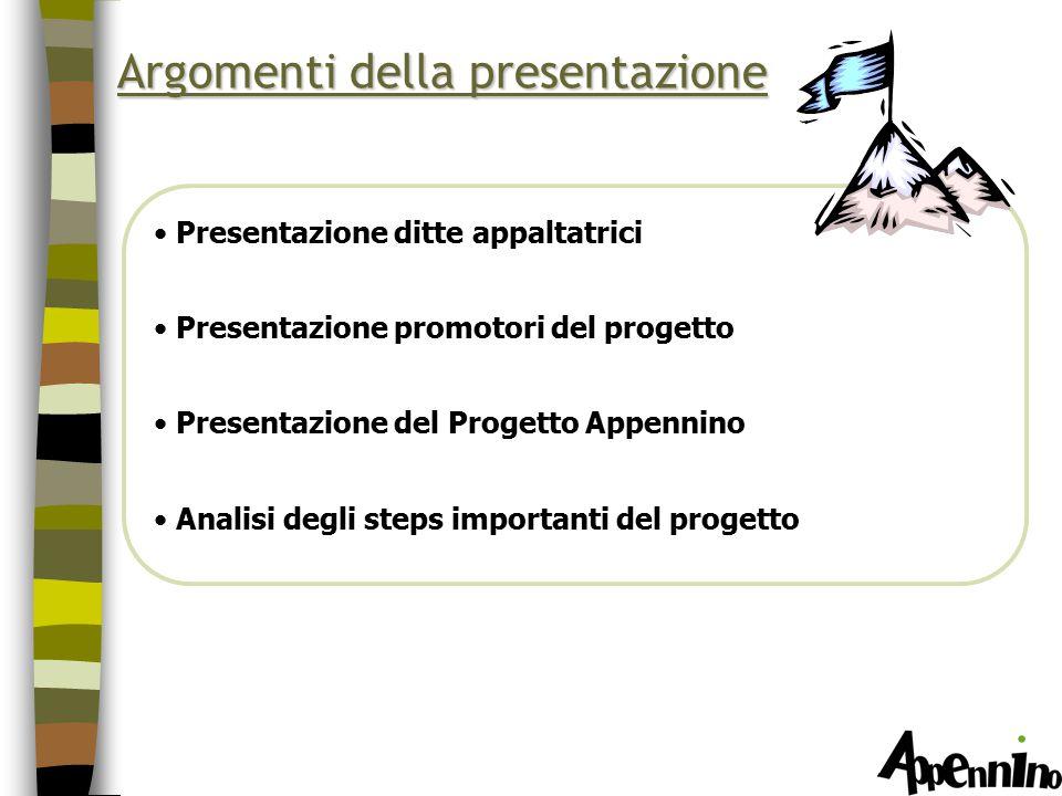Argomenti della presentazione Presentazione ditte appaltatrici Presentazione promotori del progetto Presentazione del Progetto Appennino Analisi degli steps importanti del progetto