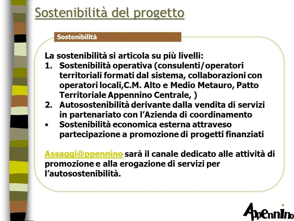 Sostenibilità del progetto La sostenibilità si articola su più livelli: 1.Sostenibilità operativa (consulenti/operatori territoriali formati dal sistema, collaborazioni con operatori locali,C.M.