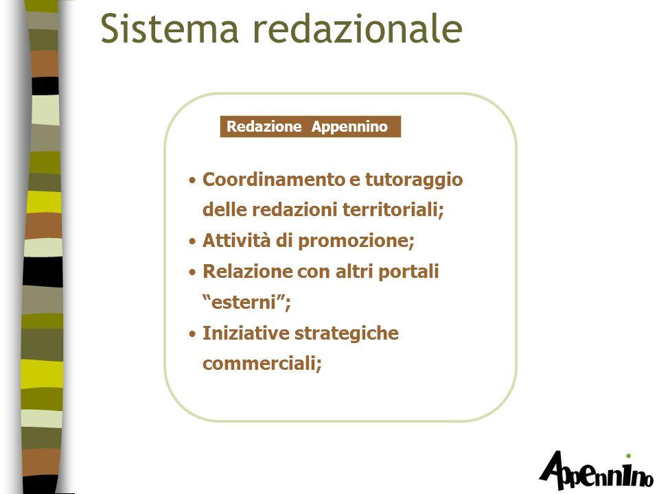Sistema redazionale Redazione Appennino Coordinamento e tutoraggio delle redazioni territoriali; Attività di promozione; Relazione con altri portali esterni ; Iniziative strategiche commerciali;