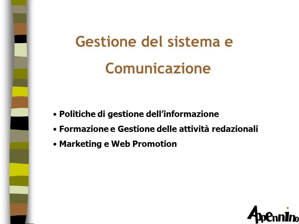 Gestione del sistema e Comunicazione Politiche di gestione dell'informazione Formazione e Gestione delle attività redazionali Marketing e Web Promotion