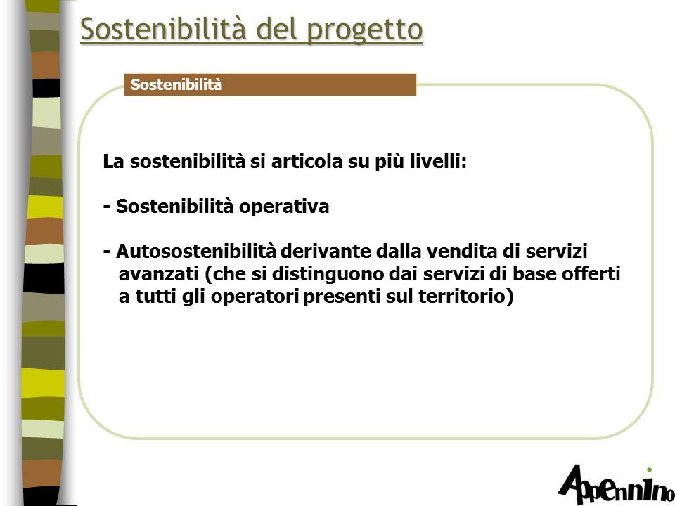La sostenibilità si articola su più livelli: - Sostenibilità operativa - Autosostenibilità derivante dalla vendita di servizi avanzati (che si distinguono dai servizi di base offerti a tutti gli operatori presenti sul territorio) Sostenibilità