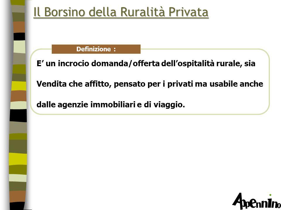 Il Borsino della Ruralità Privata E' un incrocio domanda/offerta dell'ospitalità rurale, sia Vendita che affitto, pensato per i privati ma usabile anche dalle agenzie immobiliari e di viaggio.