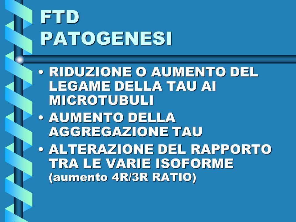 FTD PATOGENESI RIDUZIONE O AUMENTO DEL LEGAME DELLA TAU AI MICROTUBULIRIDUZIONE O AUMENTO DEL LEGAME DELLA TAU AI MICROTUBULI AUMENTO DELLA AGGREGAZIONE TAUAUMENTO DELLA AGGREGAZIONE TAU ALTERAZIONE DEL RAPPORTO TRA LE VARIE ISOFORME (aumento 4R/3R RATIO)ALTERAZIONE DEL RAPPORTO TRA LE VARIE ISOFORME (aumento 4R/3R RATIO)