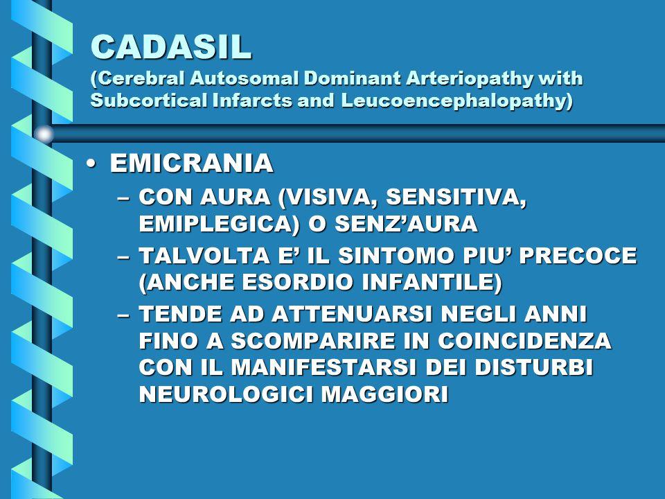 CADASIL (Cerebral Autosomal Dominant Arteriopathy with Subcortical Infarcts and Leucoencephalopathy) EMICRANIAEMICRANIA –CON AURA (VISIVA, SENSITIVA, EMIPLEGICA) O SENZ'AURA –TALVOLTA E' IL SINTOMO PIU' PRECOCE (ANCHE ESORDIO INFANTILE) –TENDE AD ATTENUARSI NEGLI ANNI FINO A SCOMPARIRE IN COINCIDENZA CON IL MANIFESTARSI DEI DISTURBI NEUROLOGICI MAGGIORI