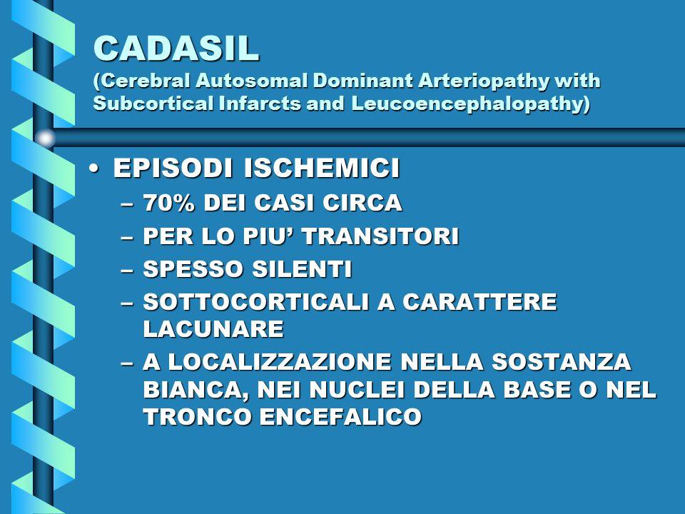 CADASIL (Cerebral Autosomal Dominant Arteriopathy with Subcortical Infarcts and Leucoencephalopathy) EPISODI ISCHEMICIEPISODI ISCHEMICI –70% DEI CASI CIRCA –PER LO PIU' TRANSITORI –SPESSO SILENTI –SOTTOCORTICALI A CARATTERE LACUNARE –A LOCALIZZAZIONE NELLA SOSTANZA BIANCA, NEI NUCLEI DELLA BASE O NEL TRONCO ENCEFALICO