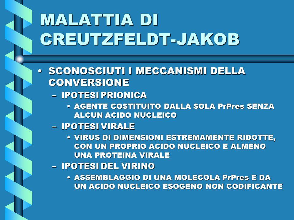 MALATTIA DI CREUTZFELDT-JAKOB SCONOSCIUTI I MECCANISMI DELLA CONVERSIONESCONOSCIUTI I MECCANISMI DELLA CONVERSIONE –IPOTESI PRIONICA AGENTE COSTITUITO DALLA SOLA PrPres SENZA ALCUN ACIDO NUCLEICOAGENTE COSTITUITO DALLA SOLA PrPres SENZA ALCUN ACIDO NUCLEICO –IPOTESI VIRALE VIRUS DI DIMENSIONI ESTREMAMENTE RIDOTTE, CON UN PROPRIO ACIDO NUCLEICO E ALMENO UNA PROTEINA VIRALEVIRUS DI DIMENSIONI ESTREMAMENTE RIDOTTE, CON UN PROPRIO ACIDO NUCLEICO E ALMENO UNA PROTEINA VIRALE –IPOTESI DEL VIRINO ASSEMBLAGGIO DI UNA MOLECOLA PrPres E DA UN ACIDO NUCLEICO ESOGENO NON CODIFICANTEASSEMBLAGGIO DI UNA MOLECOLA PrPres E DA UN ACIDO NUCLEICO ESOGENO NON CODIFICANTE