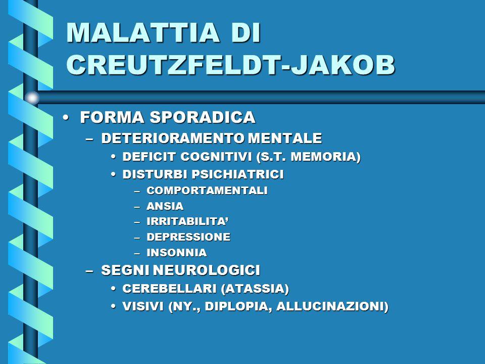 MALATTIA DI CREUTZFELDT-JAKOB FORMA SPORADICAFORMA SPORADICA –DETERIORAMENTO MENTALE DEFICIT COGNITIVI (S.T.