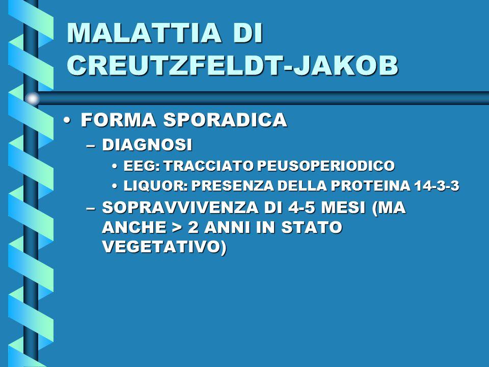MALATTIA DI CREUTZFELDT-JAKOB FORMA SPORADICAFORMA SPORADICA –DIAGNOSI EEG: TRACCIATO PEUSOPERIODICOEEG: TRACCIATO PEUSOPERIODICO LIQUOR: PRESENZA DELLA PROTEINA 14-3-3LIQUOR: PRESENZA DELLA PROTEINA 14-3-3 –SOPRAVVIVENZA DI 4-5 MESI (MA ANCHE > 2 ANNI IN STATO VEGETATIVO)