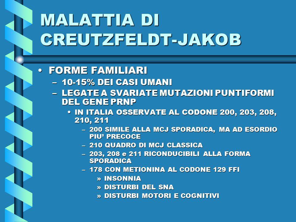 MALATTIA DI CREUTZFELDT-JAKOB FORME FAMILIARIFORME FAMILIARI –10-15% DEI CASI UMANI –LEGATE A SVARIATE MUTAZIONI PUNTIFORMI DEL GENE PRNP IN ITALIA OSSERVATE AL CODONE 200, 203, 208, 210, 211IN ITALIA OSSERVATE AL CODONE 200, 203, 208, 210, 211 –200 SIMILE ALLA MCJ SPORADICA, MA AD ESORDIO PIU' PRECOCE –210 QUADRO DI MCJ CLASSICA –203, 208 e 211 RICONDUCIBILI ALLA FORMA SPORADICA –178 CON METIONINA AL CODONE 129 FFI »INSONNIA »DISTURBI DEL SNA »DISTURBI MOTORI E COGNITIVI