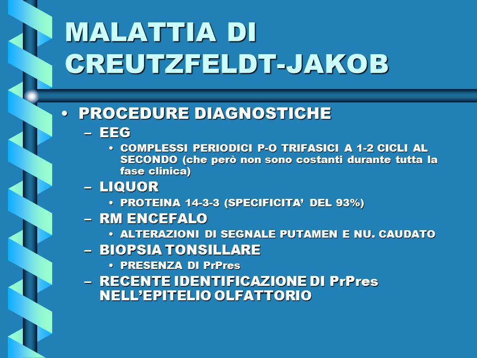 MALATTIA DI CREUTZFELDT-JAKOB PROCEDURE DIAGNOSTICHEPROCEDURE DIAGNOSTICHE –EEG COMPLESSI PERIODICI P-O TRIFASICI A 1-2 CICLI AL SECONDO (che però non sono costanti durante tutta la fase clinica)COMPLESSI PERIODICI P-O TRIFASICI A 1-2 CICLI AL SECONDO (che però non sono costanti durante tutta la fase clinica) –LIQUOR PROTEINA 14-3-3 (SPECIFICITA' DEL 93%)PROTEINA 14-3-3 (SPECIFICITA' DEL 93%) –RM ENCEFALO ALTERAZIONI DI SEGNALE PUTAMEN E NU.