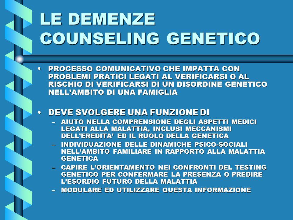 LE DEMENZE COUNSELING GENETICO PROCESSO COMUNICATIVO CHE IMPATTA CON PROBLEMI PRATICI LEGATI AL VERIFICARSI O AL RISCHIO DI VERIFICARSI DI UN DISORDINE GENETICO NELL'AMBITO DI UNA FAMIGLIAPROCESSO COMUNICATIVO CHE IMPATTA CON PROBLEMI PRATICI LEGATI AL VERIFICARSI O AL RISCHIO DI VERIFICARSI DI UN DISORDINE GENETICO NELL'AMBITO DI UNA FAMIGLIA DEVE SVOLGERE UNA FUNZIONE DIDEVE SVOLGERE UNA FUNZIONE DI –AIUTO NELLA COMPRENSIONE DEGLI ASPETTI MEDICI LEGATI ALLA MALATTIA, INCLUSI MECCANISMI DELL'EREDITA' ED IL RUOLO DELLA GENETICA –INDIVIDUAZIONE DELLE DINAMICHE PSICO-SOCIALI NELL'AMBITO FAMILIARE IN RAPPORTO ALLA MALATTIA GENETICA –CAPIRE L'ORIENTAMENTO NEI CONFRONTI DEL TESTING GENETICO PER CONFERMARE LA PRESENZA O PREDIRE L'ESORDIO FUTURO DELLA MALATTIA –MODULARE ED UTILIZZARE QUESTA INFORMAZIONE