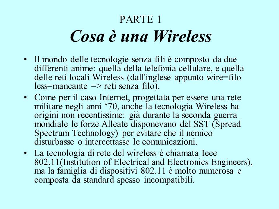 PARTE 1 Cosa è una Wireless Il mondo delle tecnologie senza fili è composto da due differenti anime: quella della telefonia cellulare, e quella delle reti locali Wireless (dall inglese appunto wire=filo less=mancante => reti senza filo).