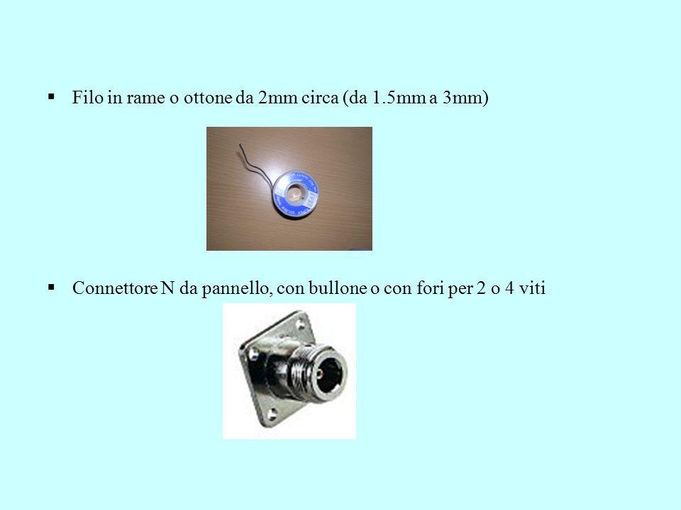  Filo in rame o ottone da 2mm circa (da 1.5mm a 3mm)  Connettore N da pannello, con bullone o con fori per 2 o 4 viti